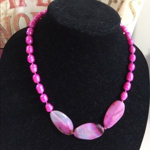 Jewelry - Pink pearls and striped agate necklace